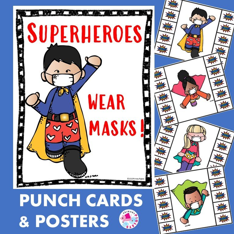 Wearing Masks Covid 19 Posters Punch Cards