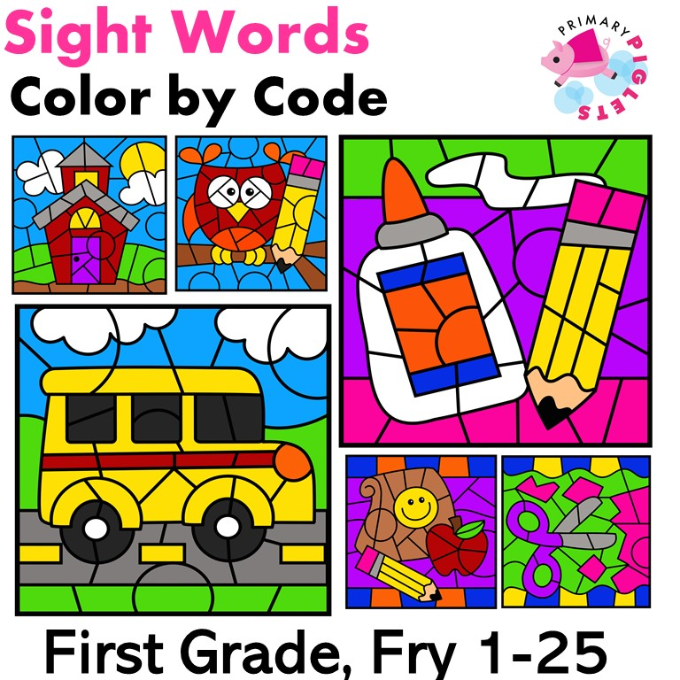 Color by Sight Words   Back to School   Fry Sight Words 1-25