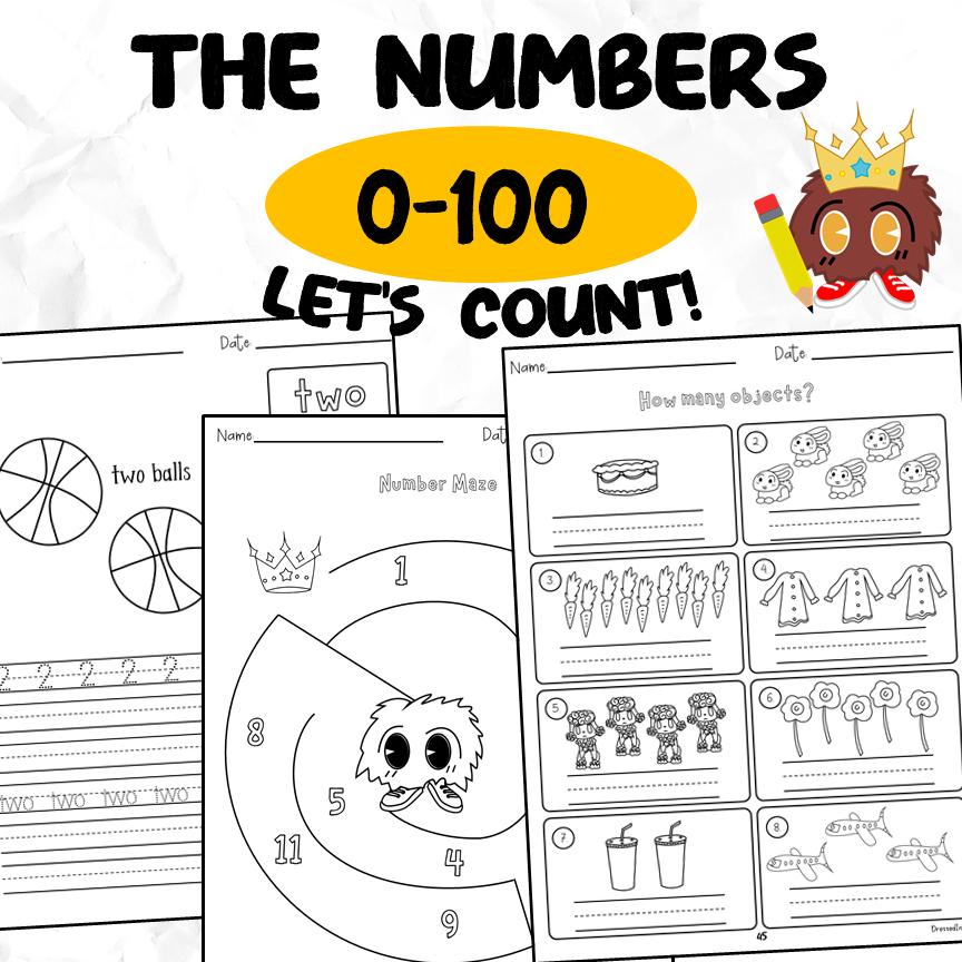 Numbers 0 to 100 Workbook for Kindergarten