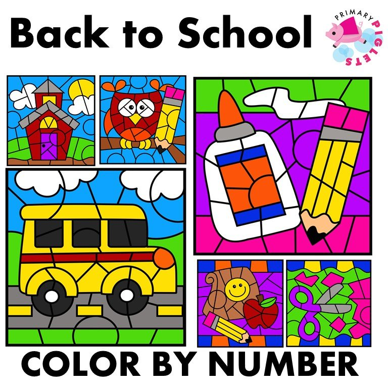 Color by Number | Back to School | Math Mystery Coloring Pictures