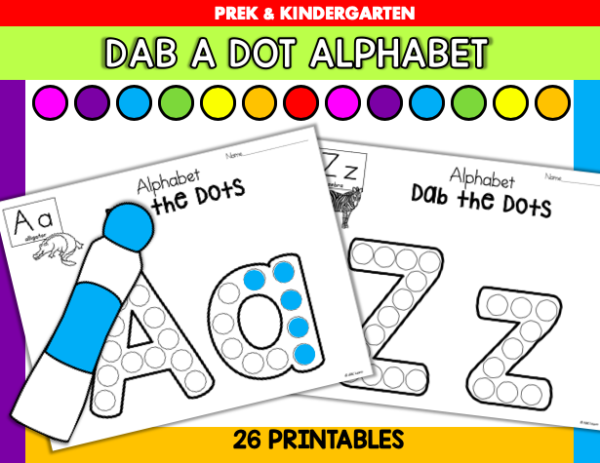 Alphabet Worksheets Kindergarten Preschool Dab A Dot