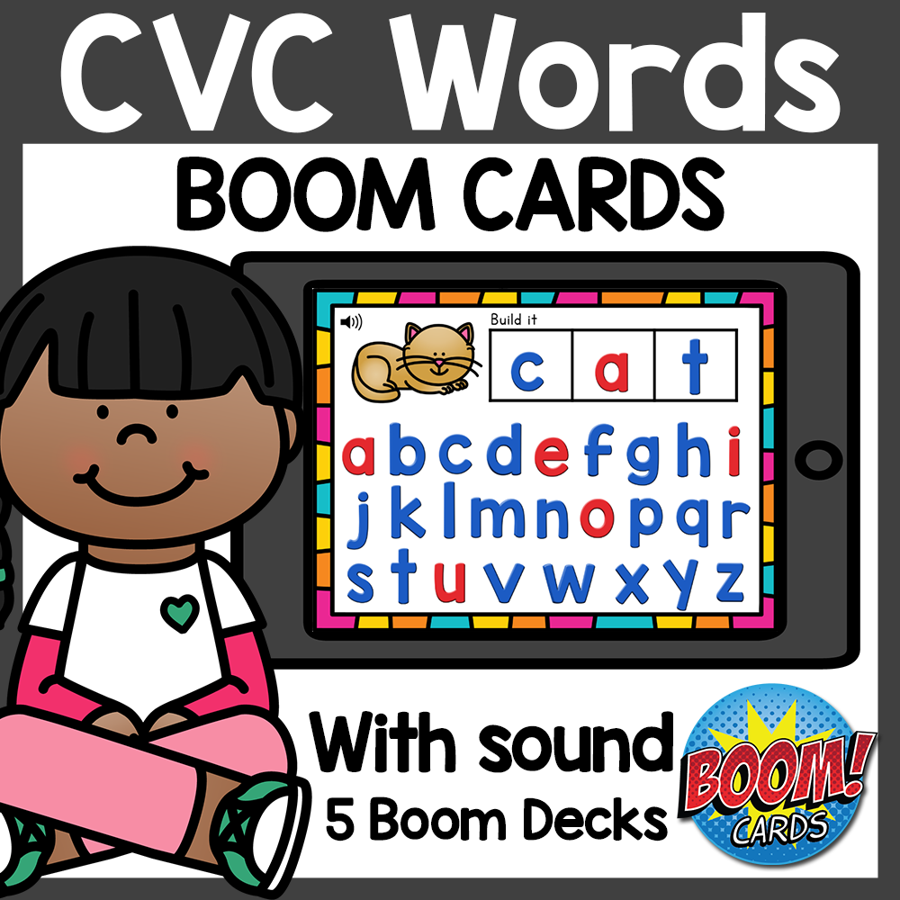 Word Building CVC Boom Cards Distance Learning
