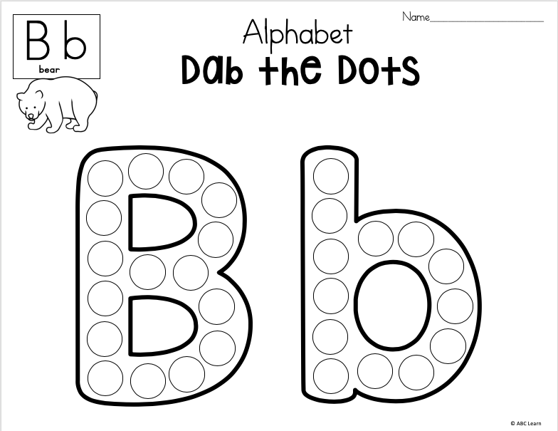 Dab The Alphabet Worksheets - Letter B - Made By Teachers