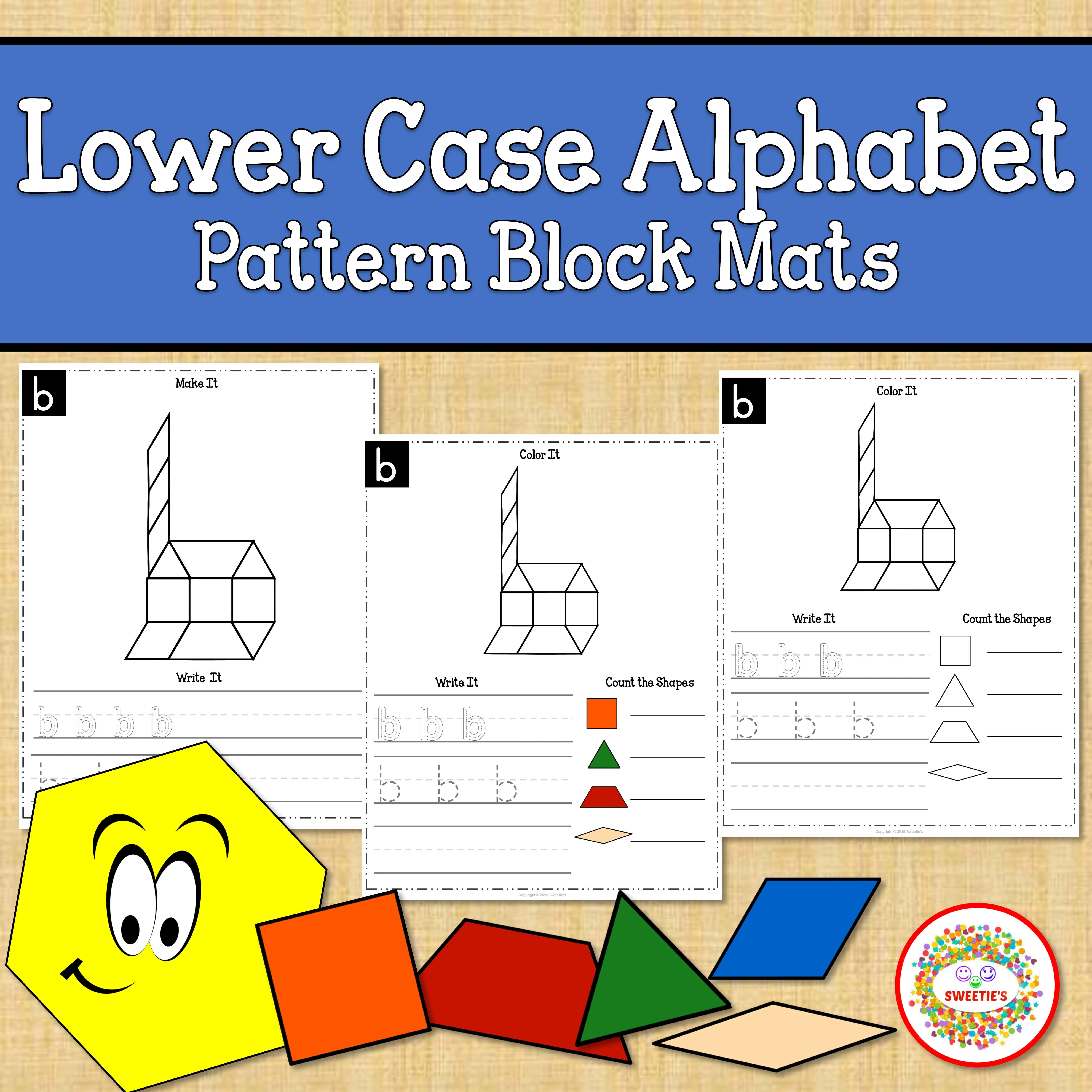 Alphabet Pattern Blocks Mats Lower Case