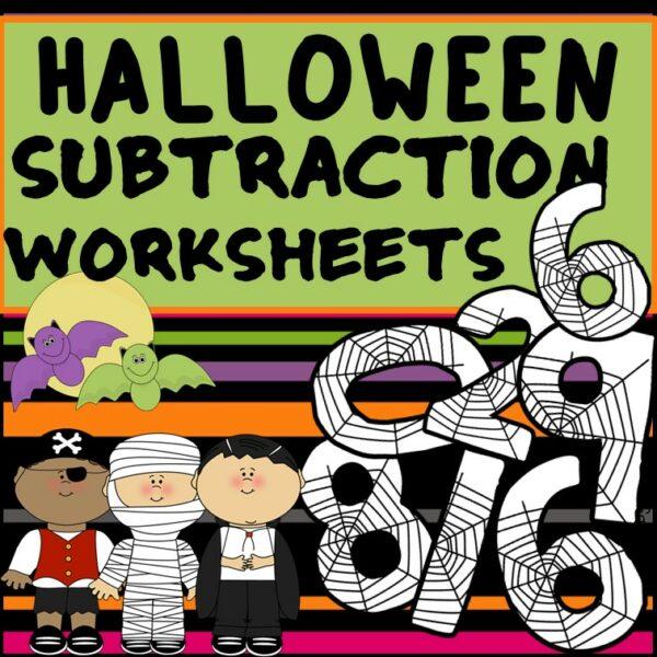 Halloween Subtraction to 20 Fact Fluency Worksheets