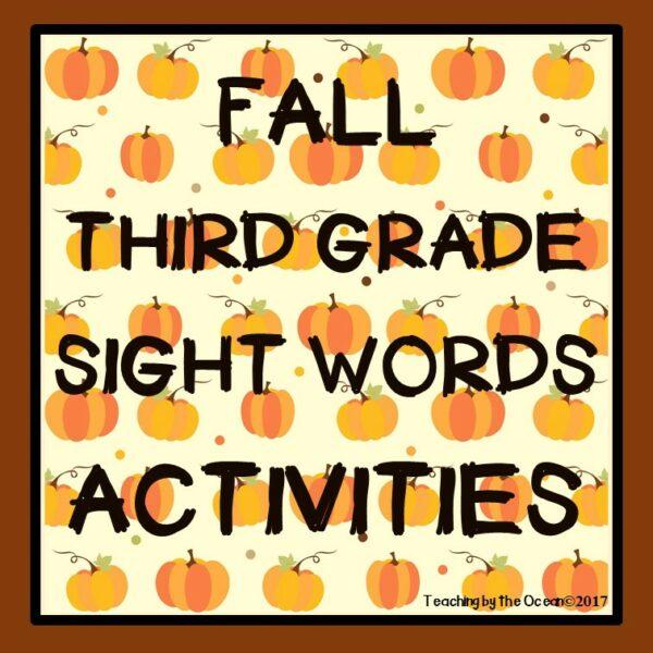 Third Grade Sight Words Worksheets - Fall Themed