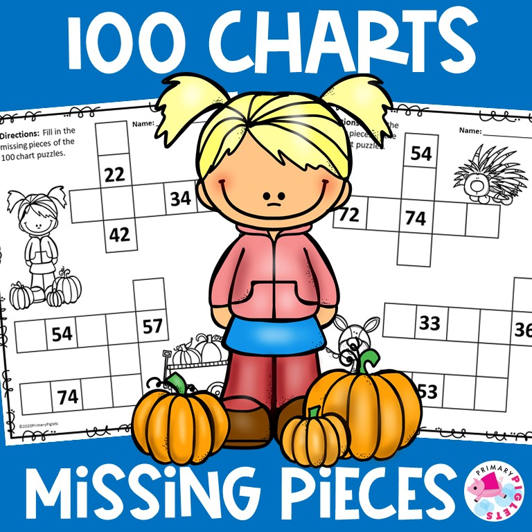 100 Chart Worksheets Fall Theme | 100 Chart Missing Numbers