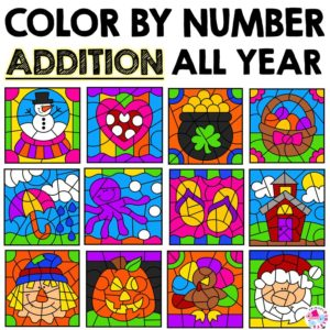Addition Color By Number Worksheets