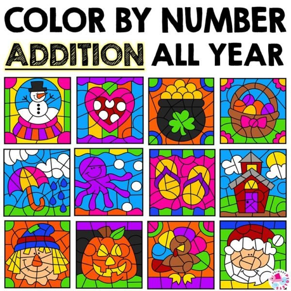 Addition Color By Number Worksheets