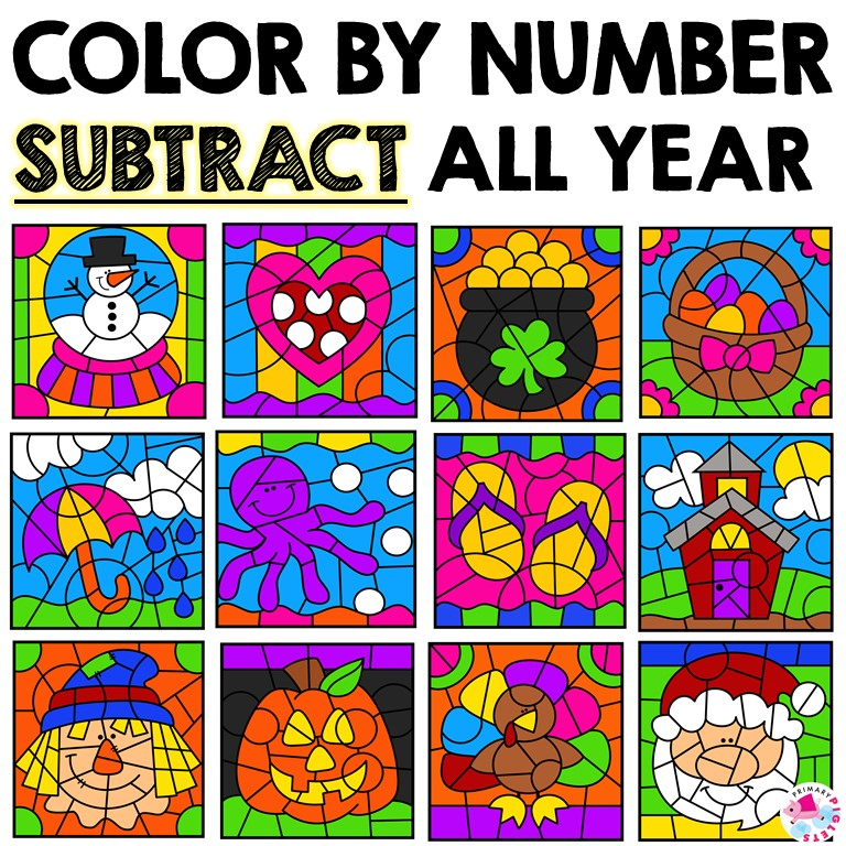 SUBTRACTION COLOR BY NUMBER ALL YEAR BUNDLE