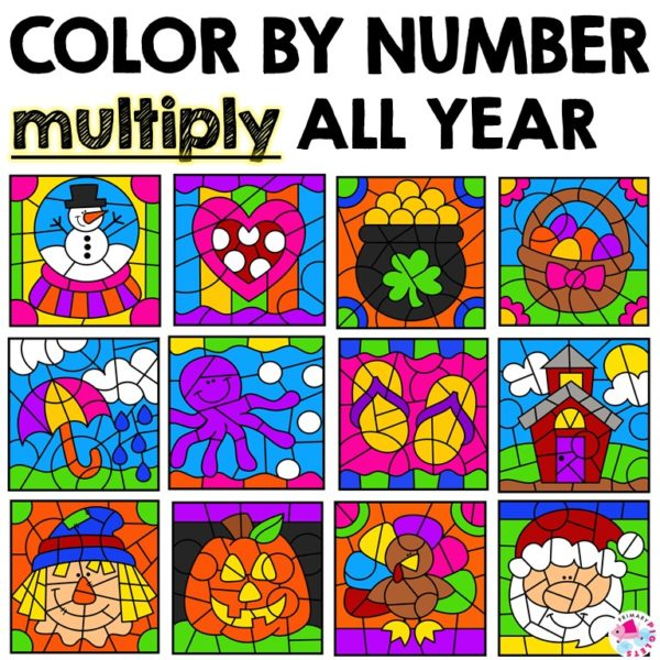 Multiplication Color By Number Worksheets