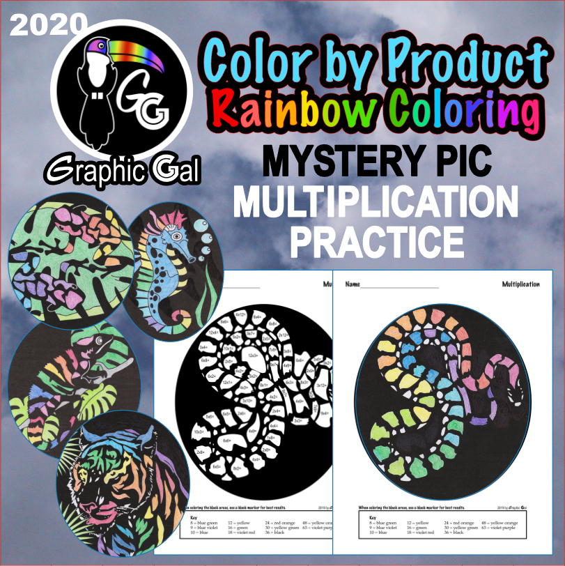 Color by Number Multiplication Fact Practice Mystery Pictures