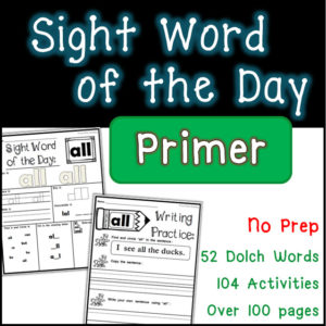 Sight word dolch word worksheets