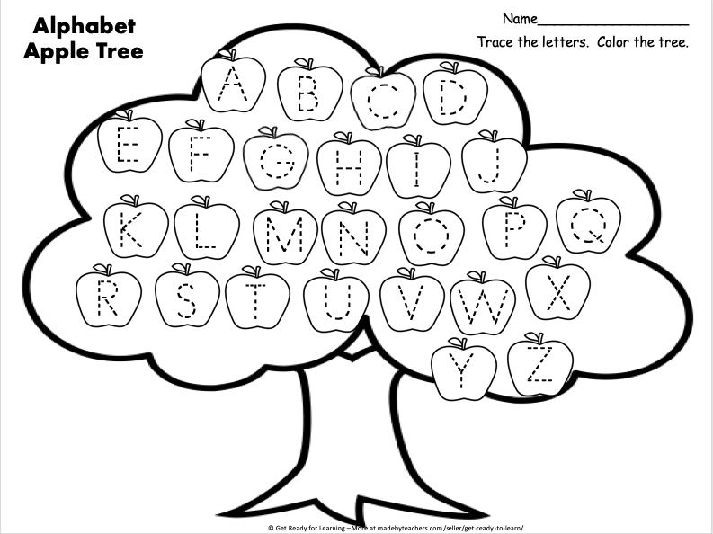 Free Uppercase Alphabet Worksheet For Fall Apple Season - Made By Teachers