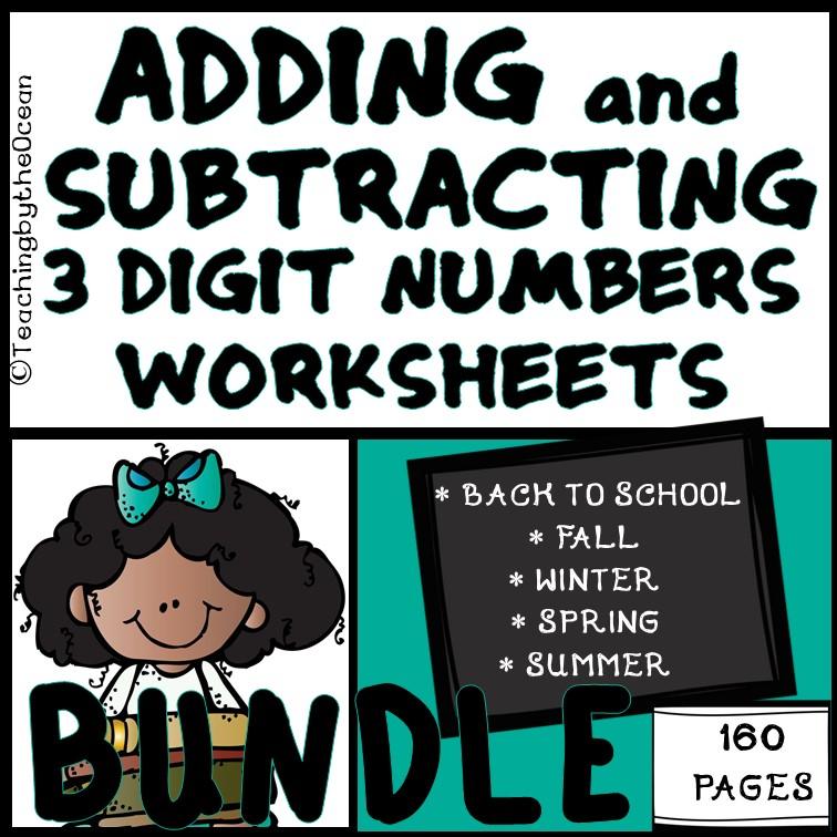 Adding Subtracting 3 Digits - Worksheets BUNDLE