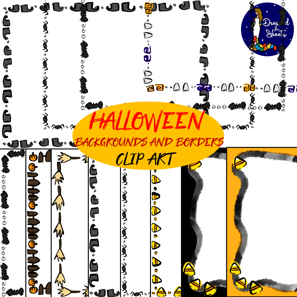 Friendly Halloween Backgrounds and Borders for BOOM cards