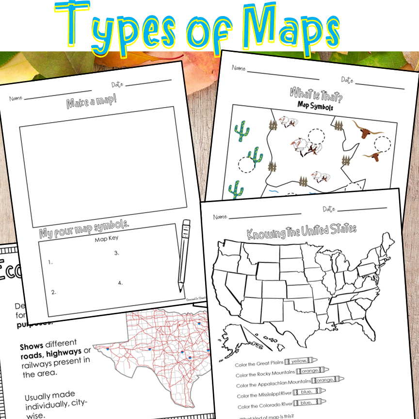 Type of Maps Worksheets   Made By Teachers