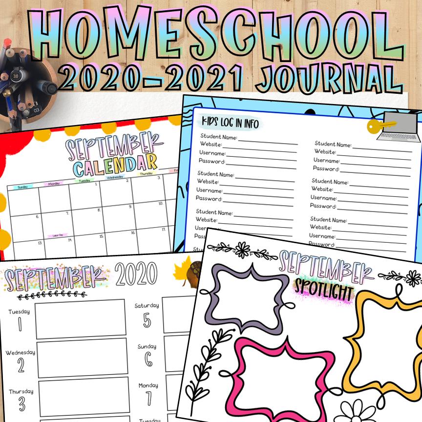 My Homeschool Journal 2020-2021 | EDITABLE | PRINTABLE ...