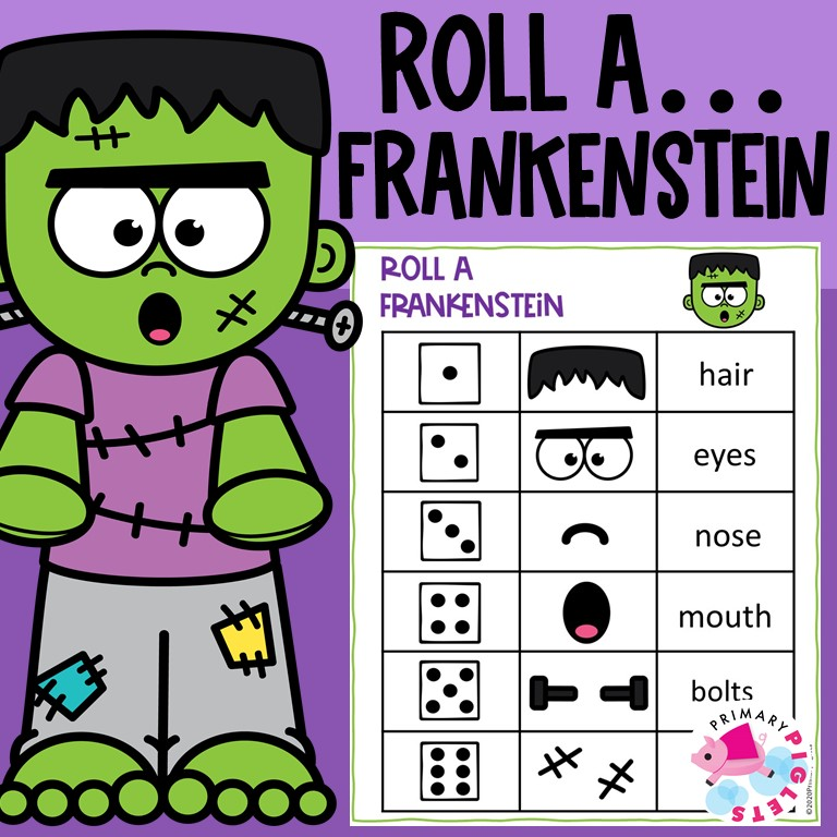 Halloween Math Game Roll and Build Frankenstein