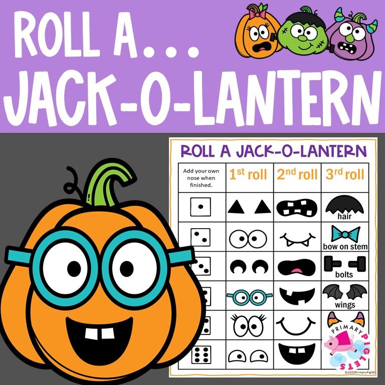 Halloween Math Game Roll and Build a Jack O' Lantern