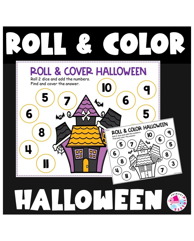 Halloween Addition Math Centers Roll and Color First Grade