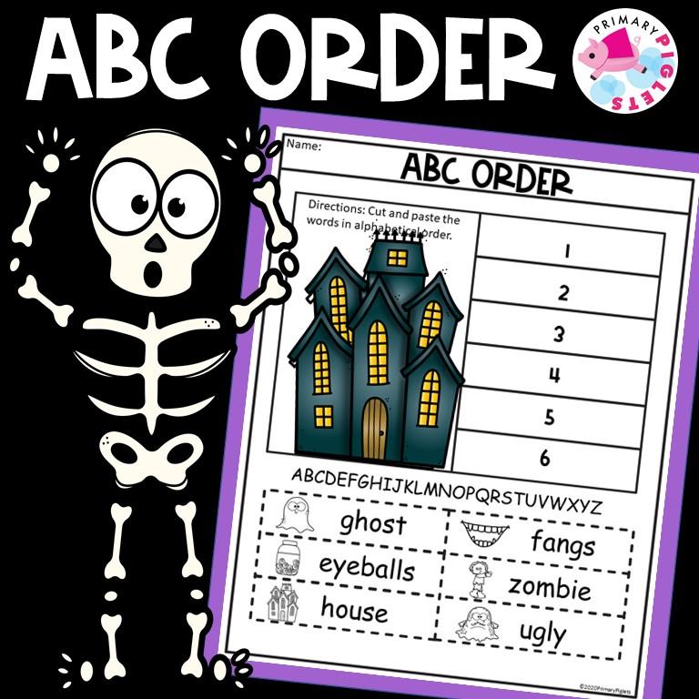 Halloween ABC Order Worksheets