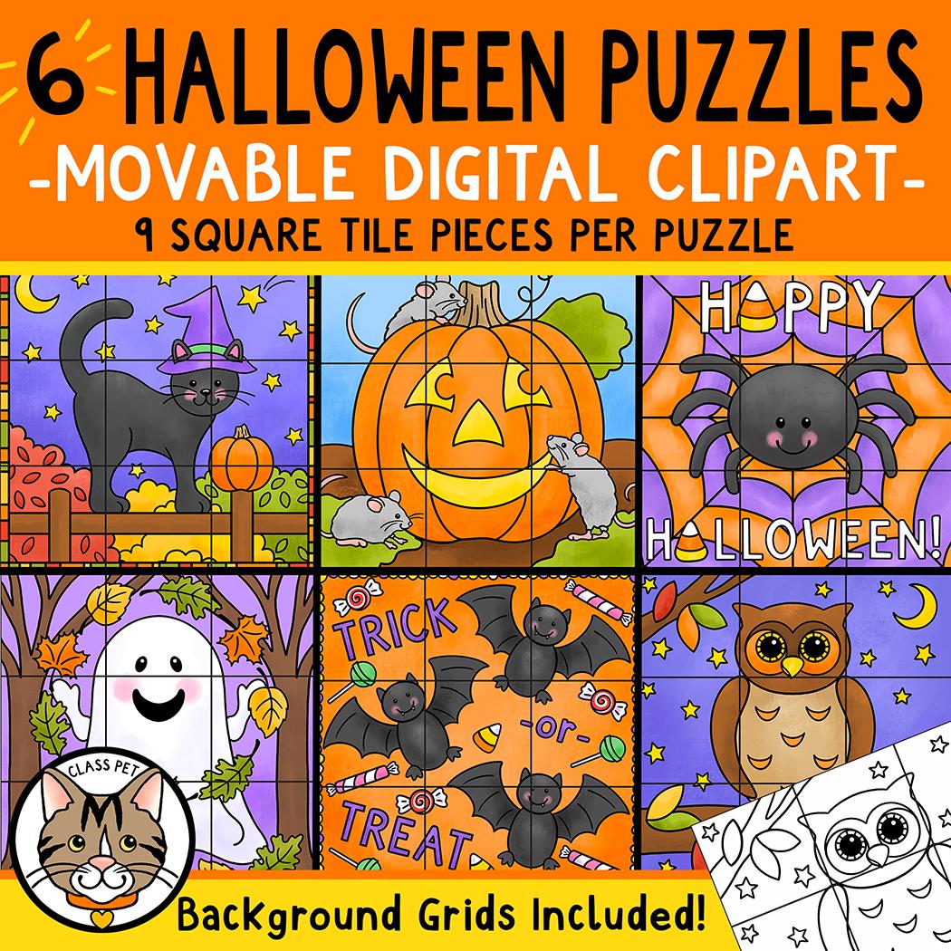 Digital Movable Clipart Puzzle Pieces | 6 Halloween Puzzles