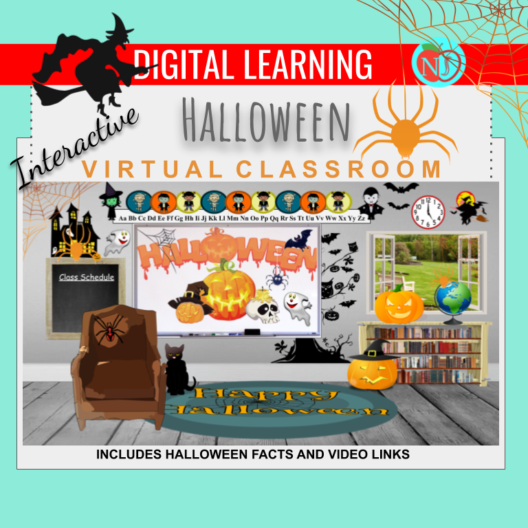 Bitmoji Classroom | HALLOWEEN Theme | 10 Slides | FUN FACTS | Interactive
