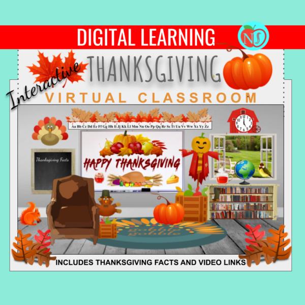 Bitmoji Classroom | THANKSGIVING Theme | 10 Slides | Interactive