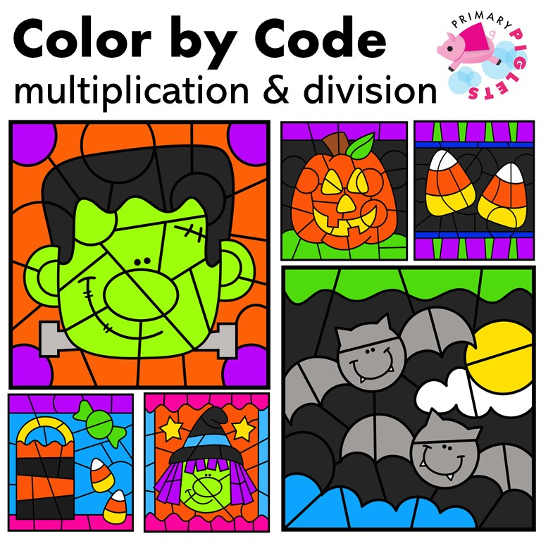 Halloween Multiplication and Division Color by Number Bundle