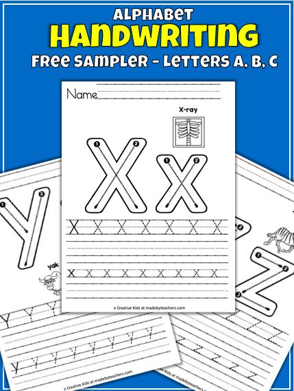 alphabet writing  letters x y z  madeteachers
