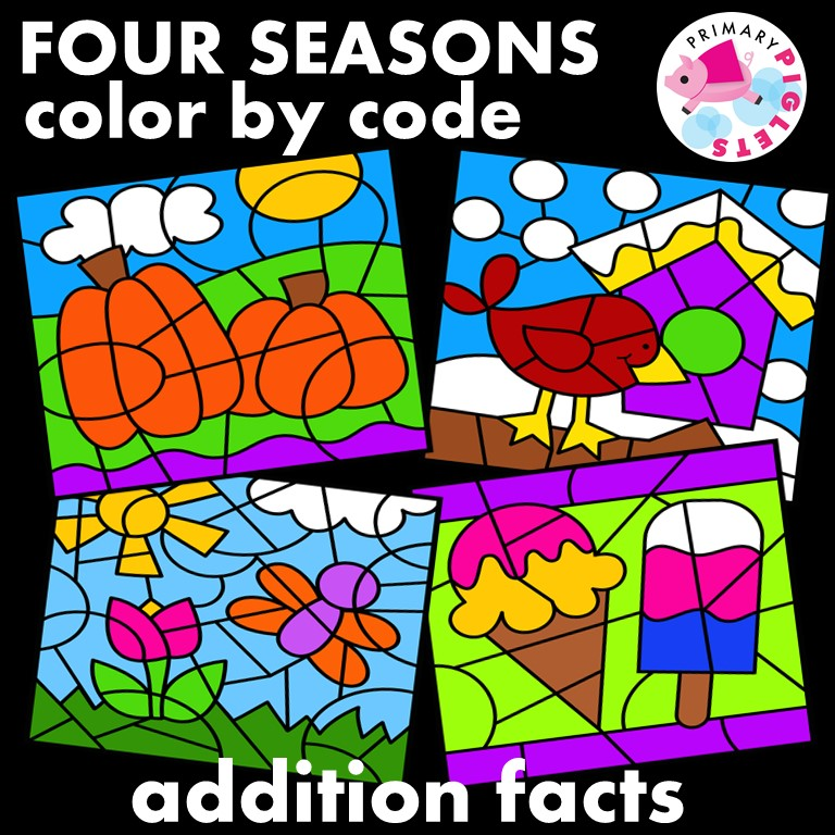 Addition Color by Number All Year Fall Winter Spring Summer Bundle