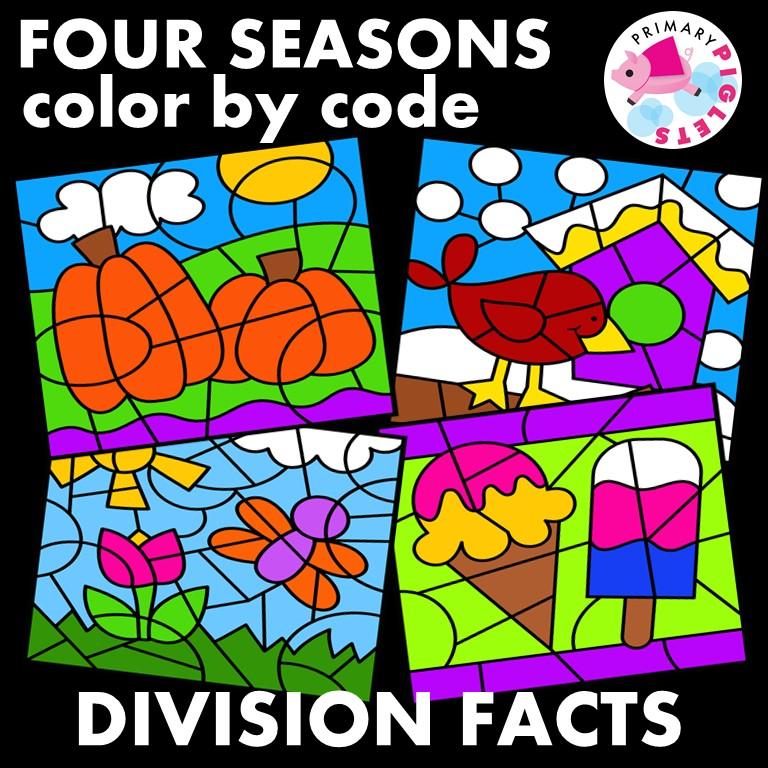 Division Color by Number ALL YEAR Fall Winter Spring Summer Bundle