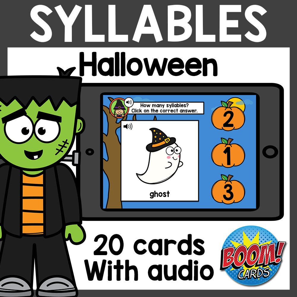 Halloween Syllables Boom Cards with Audio Distance Learning