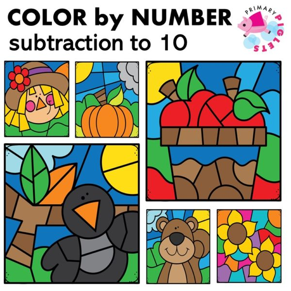 Fall Subtraction to 10 Color by Number