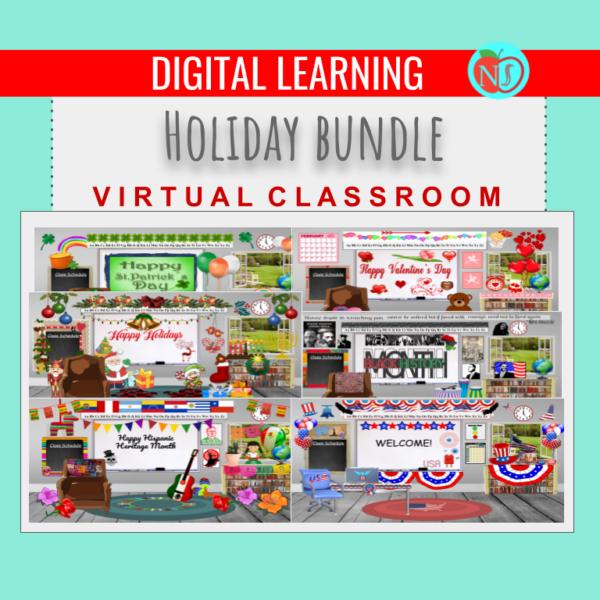 Holiday Classroom Bundle   9 EDITABLE DESIGNS   Virtual BITMOJI Classrooms