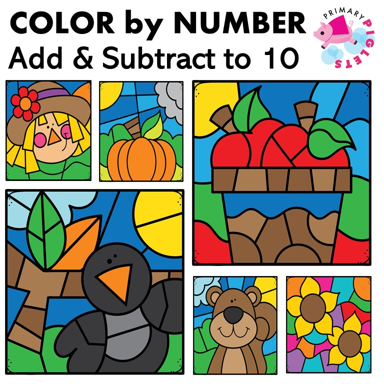 Fall Color by Number BUNDLE Addition Subtraction to 10