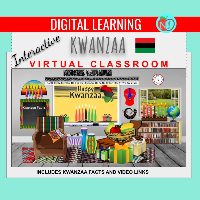 Bitmoji Classroom | KWANZAA Theme | 10 Slides | Interactive KWANZAA FACTS