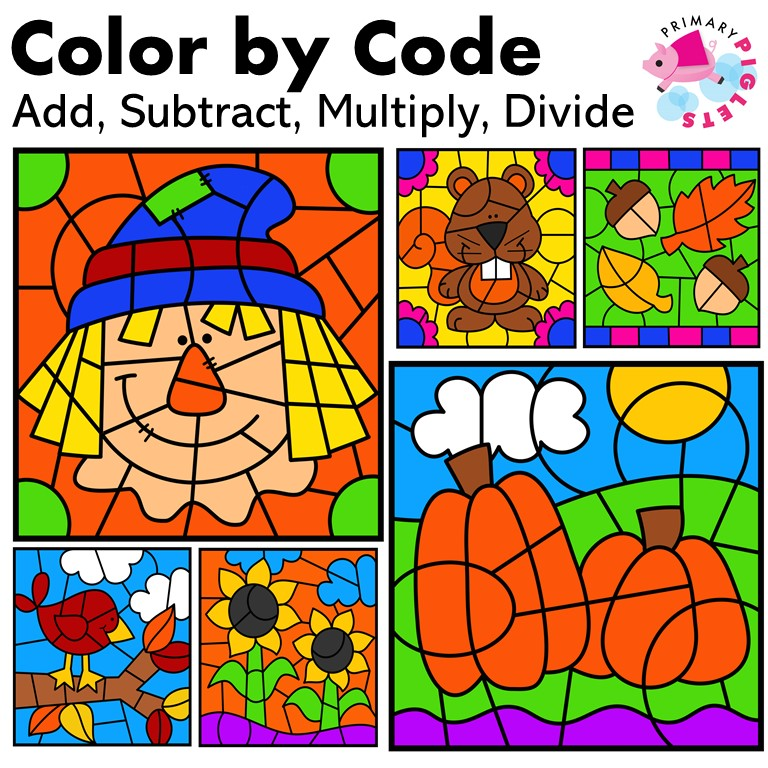 Fall Color by Code Math Facts BUNDLE