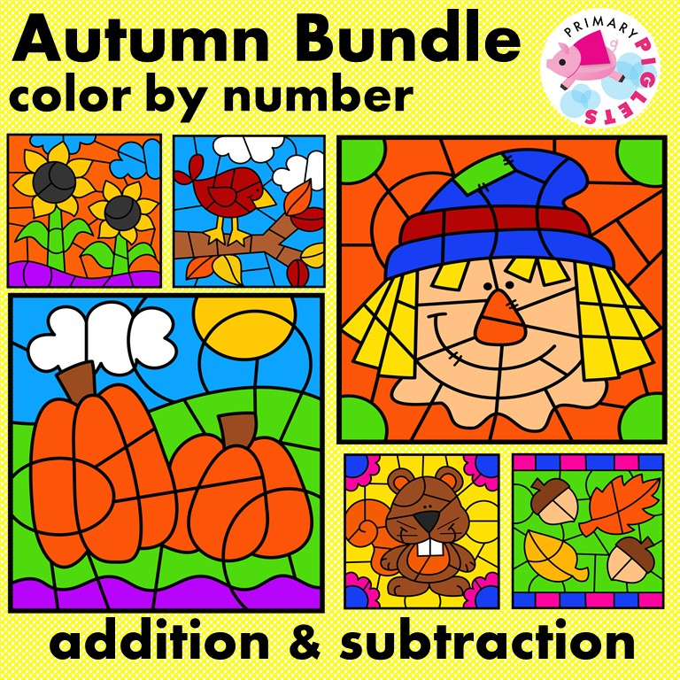 Fall Color by Number Addition Subtraction BUNDLE
