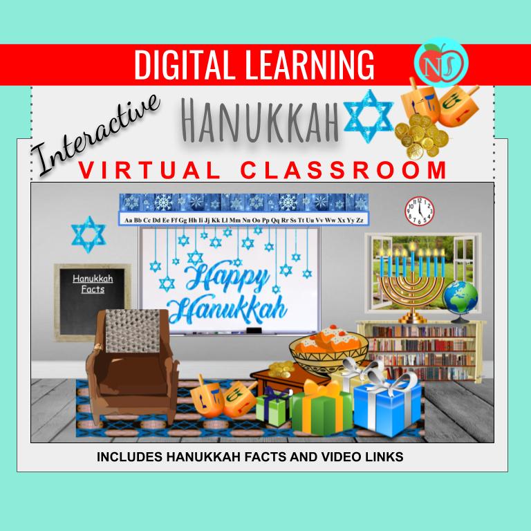 Bitmoji Classroom | Happy HANUKKAH Theme | 10 Slides | Interactive HANUKKA