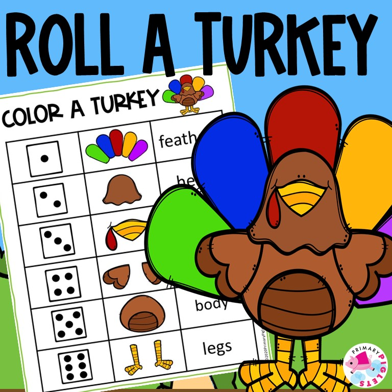 THANKSGIVING FUN Math Game Roll and Build a Turkey