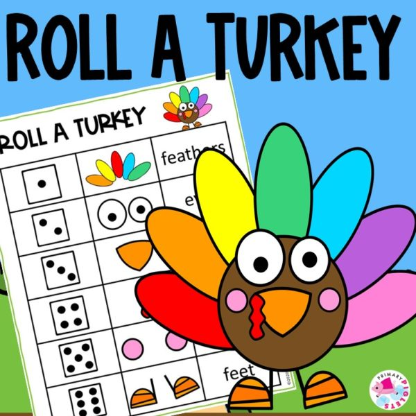 Roll and Build a turkey math game