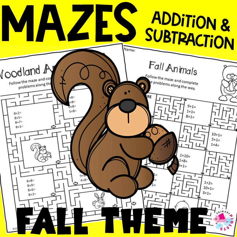 Fall Addition and Subtraction Worksheets MAZES