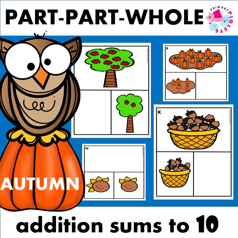 Fall Addition Part Part Whole Flashcards