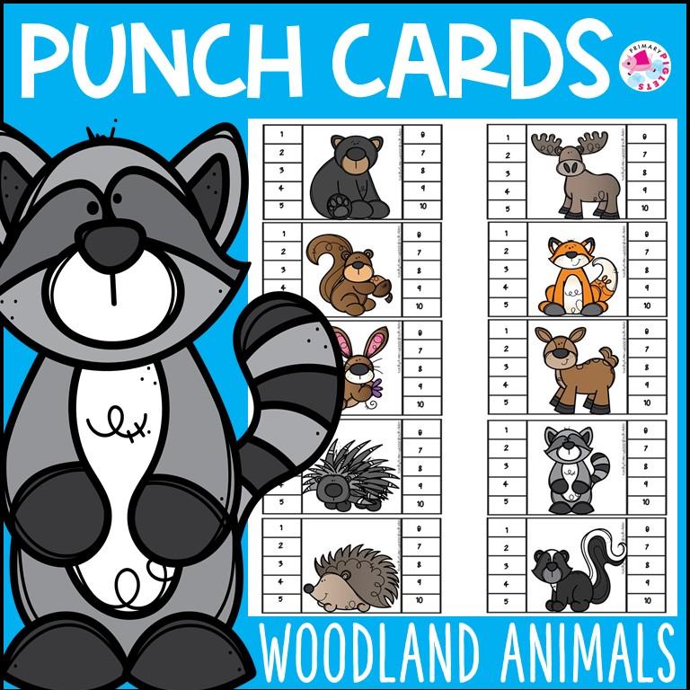 Woodland Animals Punch Cards Behavior Management