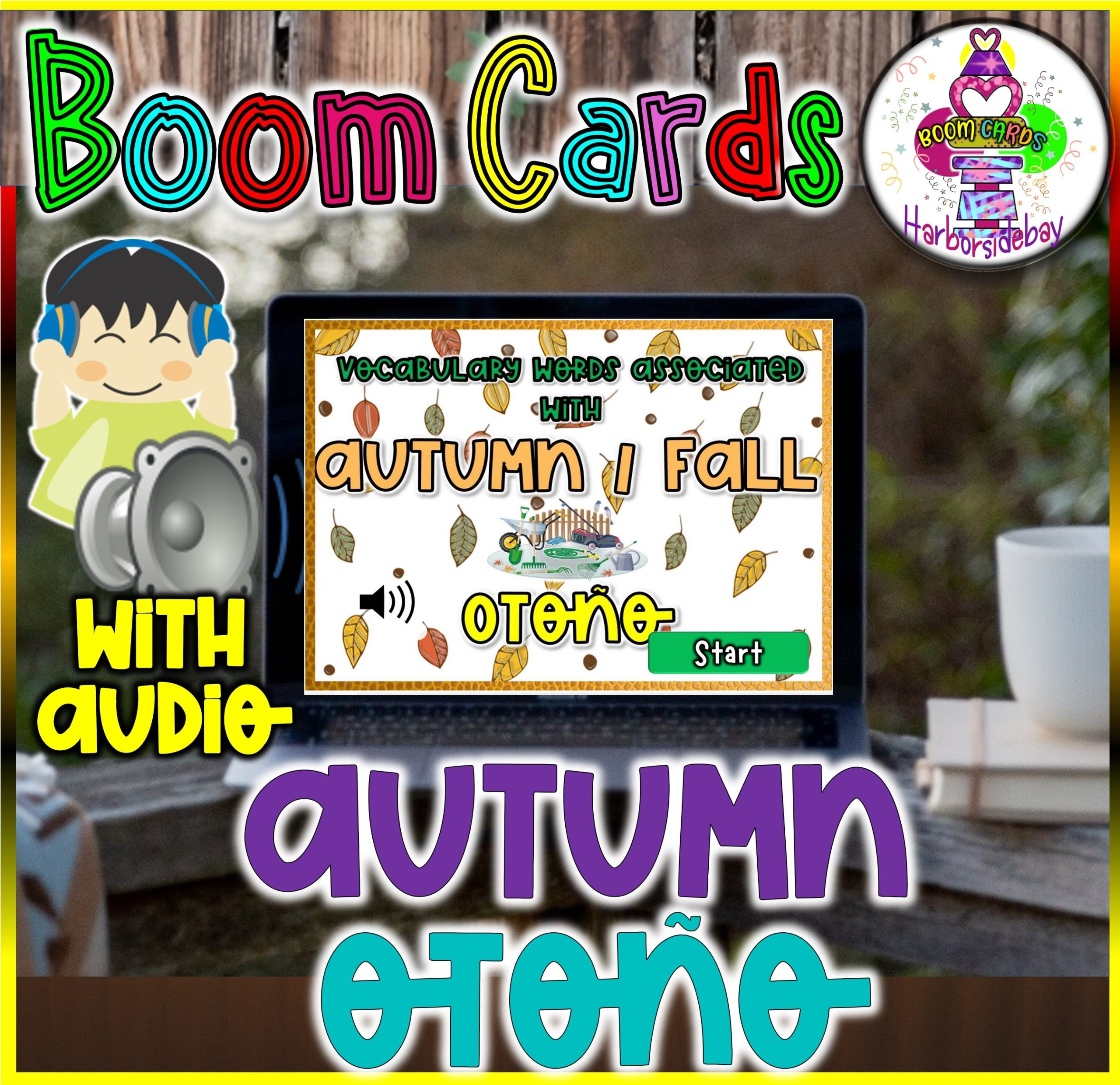 Thanksgiving Printable w/Autumn Vocab. English and Spanish| BOOM Cards