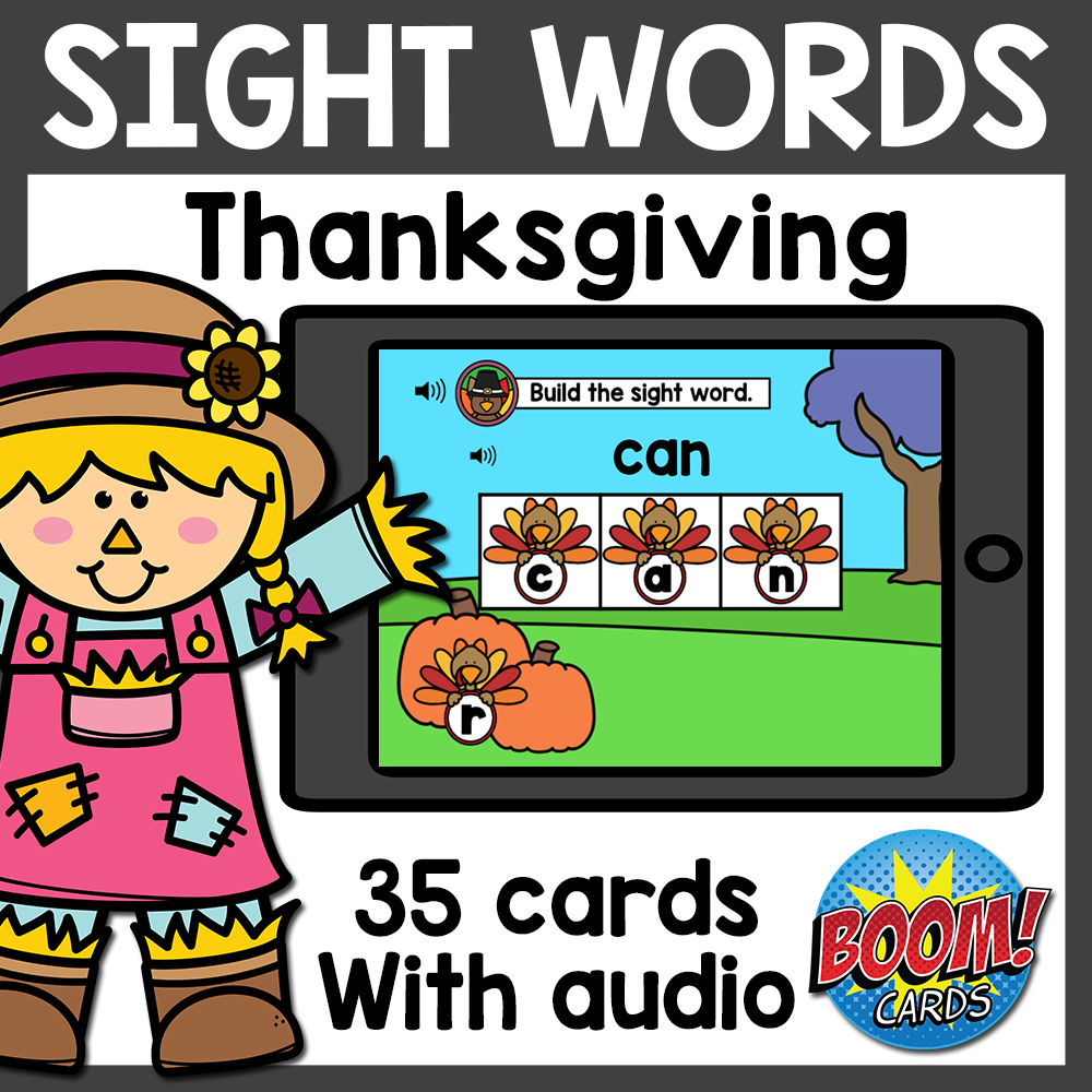 Build Sight Words Boom Cards with Audio | Thanksgiving Boom Cards