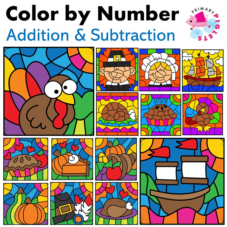 Thanksgiving Color by Number Addition Subtraction Bundle