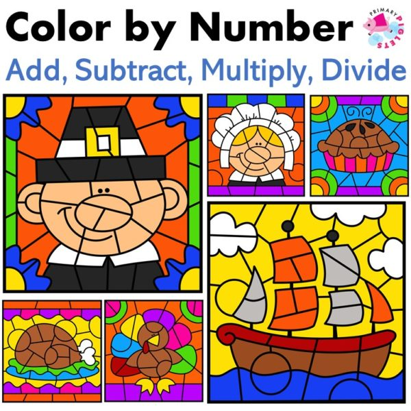 Thanksgiving Color by Code Math Facts Bundle